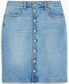 Petite Button-Front Denim Skirt,Created for Macy's