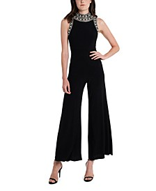 Embellished High-Neck Jumpsuit