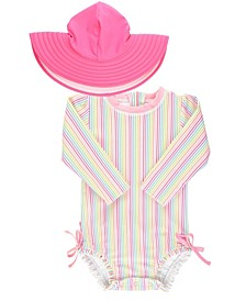 Baby Girls 1 Piece Rashguard Swimsuit and Hat Set