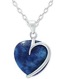 "Onyx Heart 18"" Pendant Necklace in Sterling Silver (Also Red Jasper, Sodalite & Amethyst), Created for Macy's"
