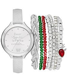 Women's Silver-Tone Polyurethane Strap Watch 40mm Gift Set