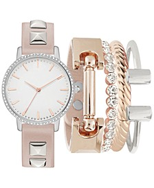 Women's Studded Blush Polyurethane Strap Watch 34mm, Gift Set