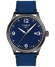 Men's Swiss Gent XL Blue Fabric Strap Watch 42mm