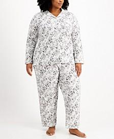 Plus Size Cotton Brushed Knit Pajama Set, Created for Macy's