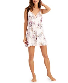 INC Satin Lace-Trim Deep-V Chemise Nightgown, Created for Macy's