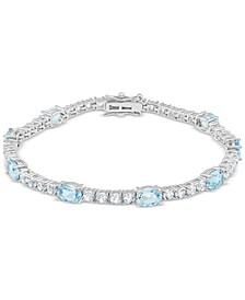 Blue Topaz (6 ct. t.w.) & White Topaz (4 ct. t.w.) Link Bracelet in Sterling Silver (Also in Amethyst, Citrine, Lab-Created Opal, Lab-Created Blue Sapphire, Lab-Created Ruby, & Lab-Created Emerald)