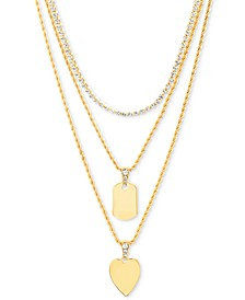 """Gold-Tone Crystal Heart Layered Pendant Necklace, 16"""" + 3"""" extender"""