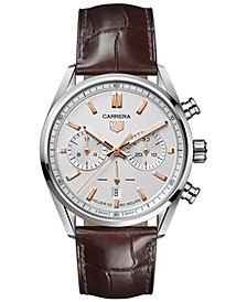 Men's Swiss Automatic Chronograph Carrera Brown Leather Strap Watch 42mm
