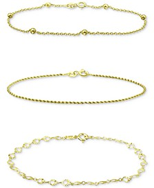 3-Pc. Set Chain Link Bracelets, Created for Macy's