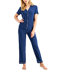 Alfani Short-Sleeve Pajama Set, Created for Macy's