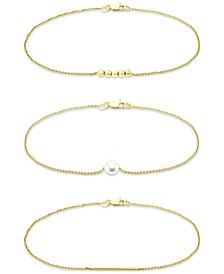 3-Pc. Set Freshwater Pearl (5mm), Bead, & Bar Bracelets, Created for Macy's