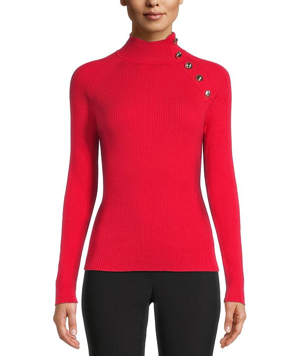 Anne Klein Button-Detail Ribbed Pullover Sweater