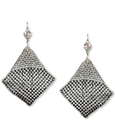 Silver-Tone Crystal Mesh Kite Statement Earrings, Created for Macy's