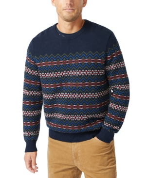 Men's Vintage Sweaters History Nautica Mens Fair Isle Print Sweater $39.99 AT vintagedancer.com