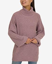 Juniors' Turtleneck Tunic Sweater