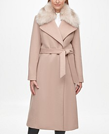 Women's Faux Fur Collar Belted Wrap Coat