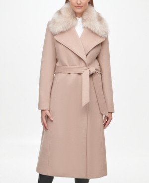Karl Lagerfeld Belted Wool Blend Coat With Faux Fur Trim In Nude
