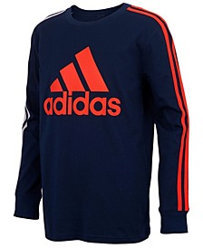 Big Boys Long Sleeve Badge of Sport Stripe Tee