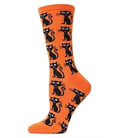 Women's Cat Halloween Crew Socks