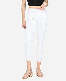 Women's Mid Rise Clean Cut Hem Skinny Crop Jeans