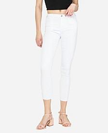 Women's Mid Rise Clean Cut Hem Skinny Crop Jeans