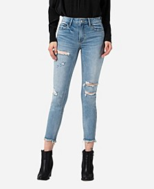 Women's High Rise Distressed Fray Hem Skinny Crop Jeans