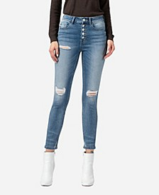 Women's Super High Rise Button Up Distressed Skinny Ankle Jeans
