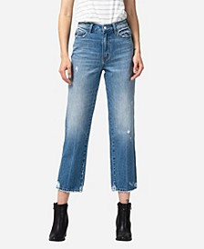 Women's Super High Rise Distressed Hem Crop Straight Jeans
