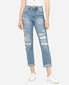 Women's Rolled Up Distressed Patchwork Mom Jeans