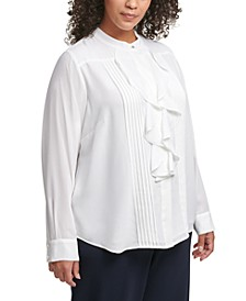 Plus Size Ruffled Pintuck-Pleat Blouse