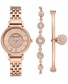 Women's Rose Gold-Tone Bracelet Watch 30mm Gift Set