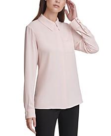 Petite Long-Sleeve Button-Down Blouse