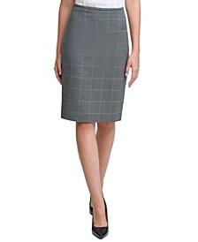 Petite Windowpane-Print Pencil Skirt