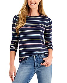 Petite Striped Crewneck Top, Created for Macy's