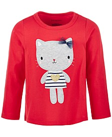 Baby Girls Lovely Cat Long-Sleeve Cotton T-Shirt, Created for Macy's