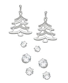 Fine Silver Plated Cubic Zirconia Christmas Tree Four Piece Earring Set