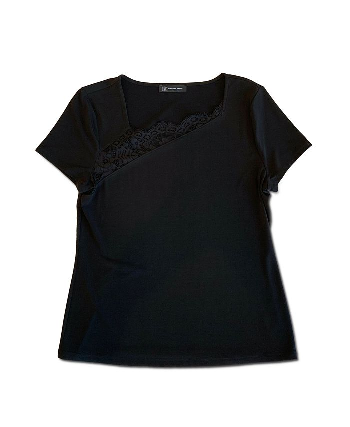 INC International Concepts - Asymmetrical Lace T-Shirt