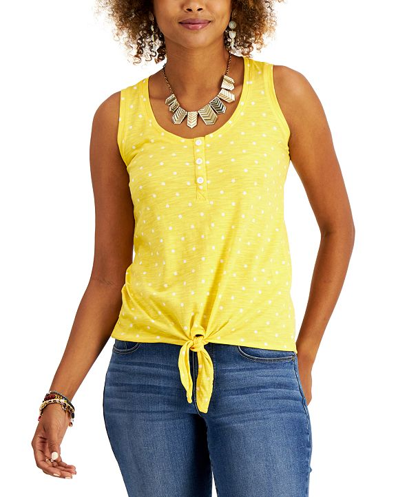 Style & Co Petite Printed Henley Tank Top, Created for Macy's