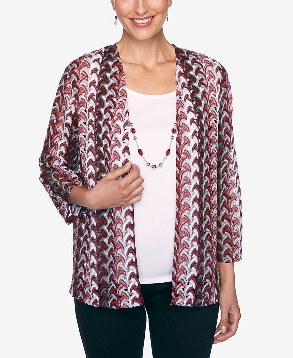 Alfred Dunner Women's Plus Size Madison Avenue Lace Texture Two For One Top
