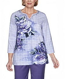 Women's Plus Size Wisteria Lane Asymmetric Floral Textured Top