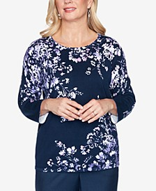 Women's Plus Size Wisteria Lane Asymmetric Floral Print Sweater