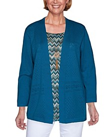 Women's Plus Size Colorado Springs Chevron Inner Two For One Sweater