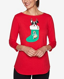 Women's Plus Size Reindeer Pup Printed Knit Top