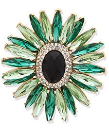 Gold-Tone Green Stone Cluster Boxed Pin