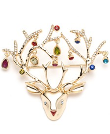 Gold-Tone Multicolor Crystal Reindeer Boxed Pin