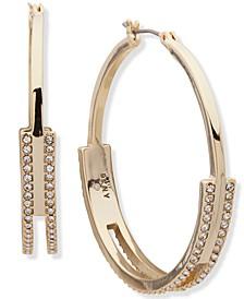 """Gold-Tone Medium Pavé Split Hoop Earrings, 1.7"""""""