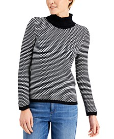 Cotton Textured Turtleneck Sweater, Created for Macy's