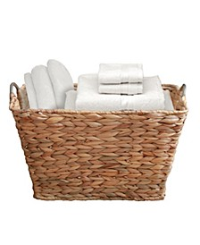 Water Hyacinth Wicker Large Square Storage Laundry Basket with Handles