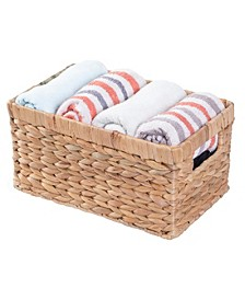Natural Woven Small Water Hyacinth Wicker Rectangular Storage Bin Basket with Handles