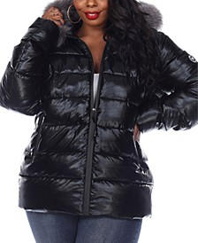 Women's Plus Size Metallic Puffer Coat with Hoodie